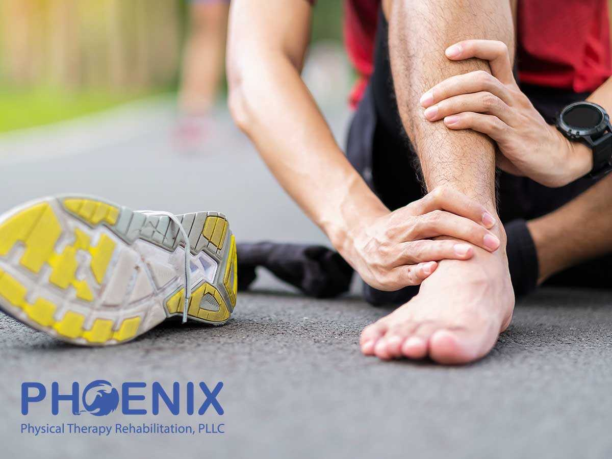 Athlete suffering from an ankle sprain injury in Levittown, NY