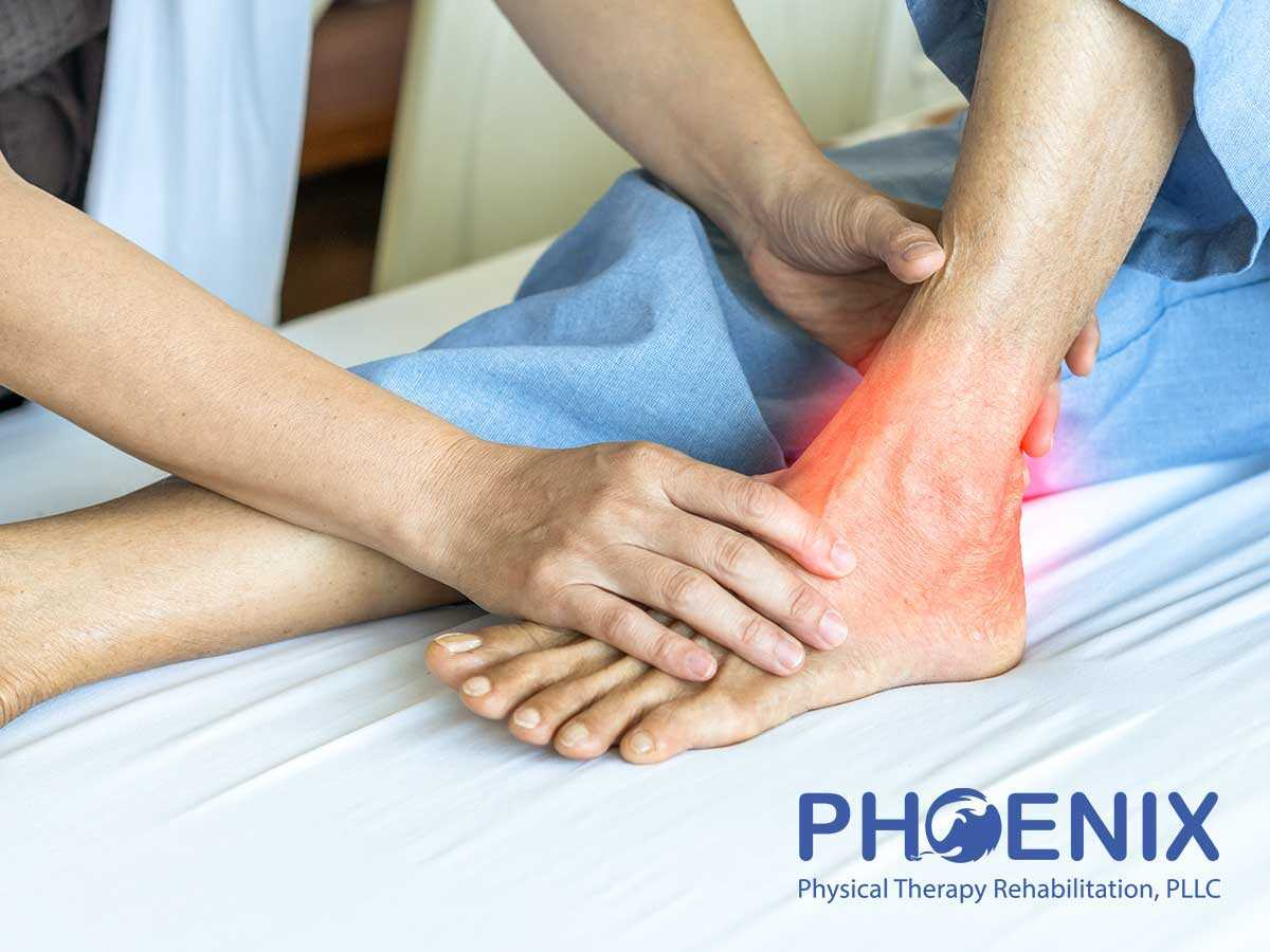Expert Physiotherapist treating a patient suffering from an ankle sprain in Levittown, NY
